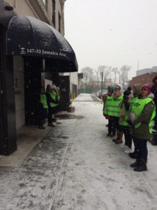 Volunteer escorts (in green vests in photo) continue to welcome patients cmoing to Choices on Saturday mornings.