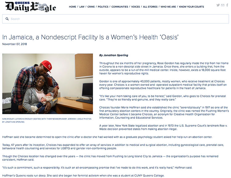 """""""In Jamaica, a Nondescript Facility Is a Women's Health 'Oasis'"""" in the Queens Daily Eagle on November 07, 2018."""