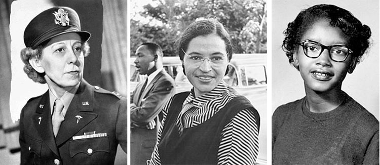 Captain Annie Fox, Rosa Parks, and Claudette Colvin, Choices Women in History December 2018