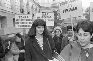 "Mary Beth Whitehead joins a group of women demonstrating on her behalf on March 12, 1987, after the lawyers in the ""Baby M"" custody case delivered their summations. Photo from: Bettmann—Getty Images"