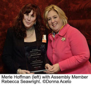 Merle Hoffman with Assembly Member Rebecca Seawright. ©Donna Aceto