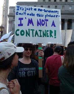 Seen at May 21 Demonstration in NYC against abortion bans, part of nation-wide protests., Choices June 2019 newsletter