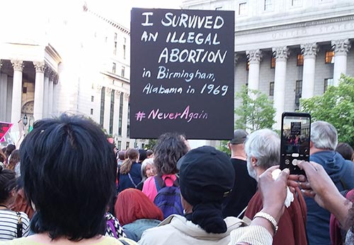 Seen at May 21 Demonstration in NYC against abortion bans, part of nation-wide protests. Choices June 2019 newsletter